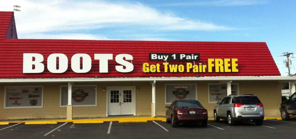 Boot Factory Outlet has locations in Pigeon Forge, TN at the foothills of the Smoky Mountains and in Sevierville, TN on Hwy. 66 just 4 miles south of I Both stores have thousands of boots on display and all are Buy 1 Pair, Get Two Pair FREE!